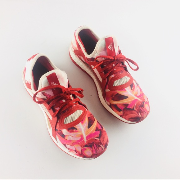 bcbc7109b203f adidas Shoes - Adidas Pure Boost X Red Leaves Floral Running Shoe